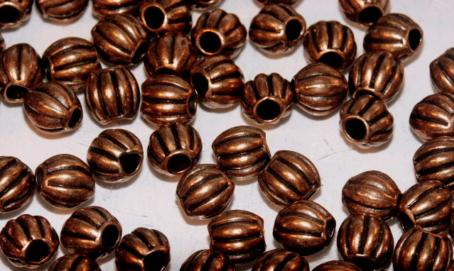 Tibetan Style Red Copper Beads & Spacers