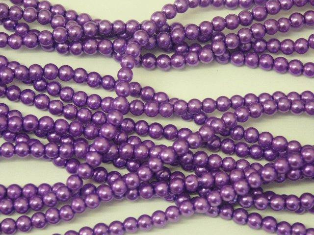 1 Strand 4mm Cyan Pearl Glass Pearls 216 Beads